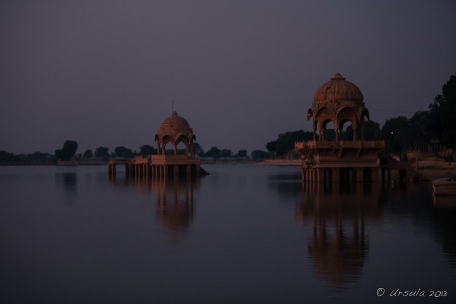 Pavilions on Gadsisar Lake, Jaisalmer, in the pre-dawn dark.