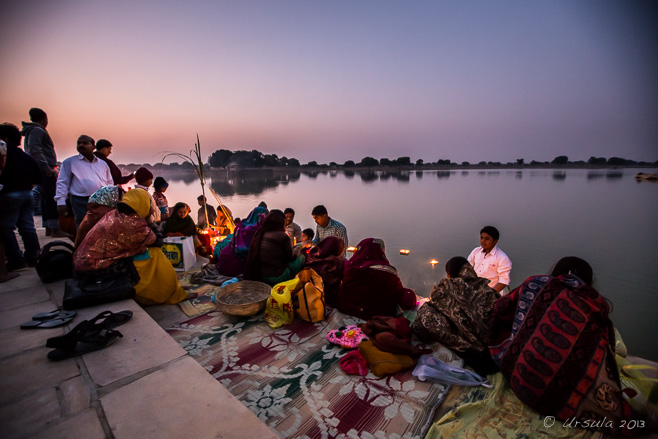 People on the Ghats of Gadsisar Lake, Jaisalmer.