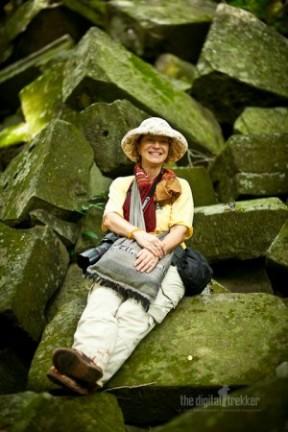 Woman on mossy rocks: Beng Mealea June152011