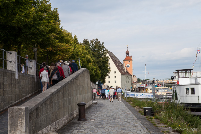 View along a walkway on the canal-boat dock, Regensburg DR