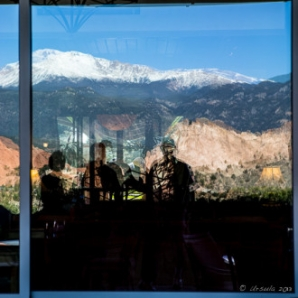 Shadows in the window of Garden of the Gods Club and Resort 17May2013