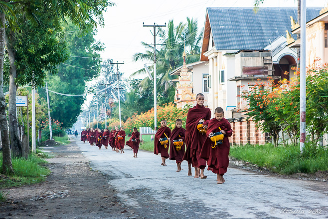 Monks with Alms Bowls, Nyaung Shwe Myanmar