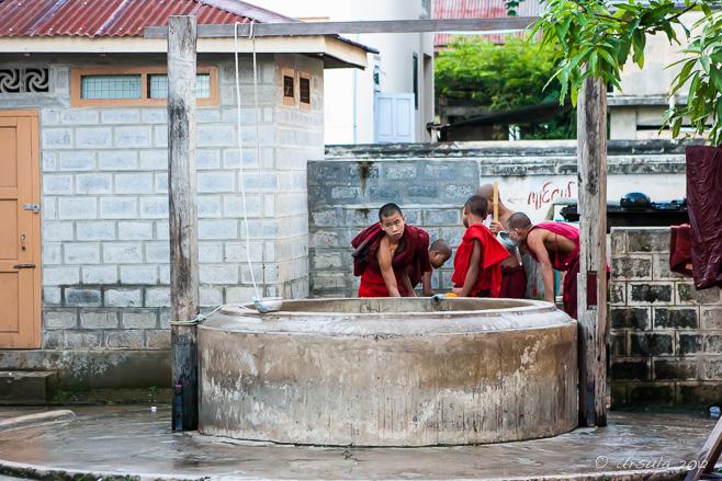Novice monks at a monastery Well, Nyaung Shwe Myanmar