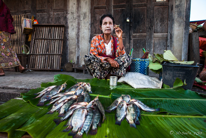 Fish Seller with a Cheroot, Nyaung Shwe Market, Myanmar