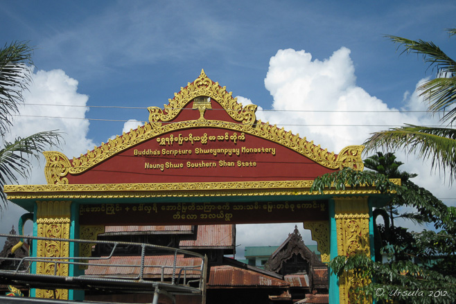 Gilded entry arch to Shwe Yan Pyay Monastery, Nyaung Shwe, Myanmar