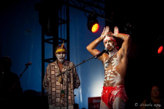 Two arakwal aboriginal men on stage, Boomerang, Byron Bay Bluesfest 2016 AU
