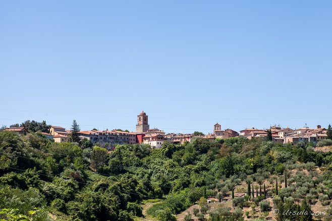 View of Chiusi from the green fields below., Tuscany Italy