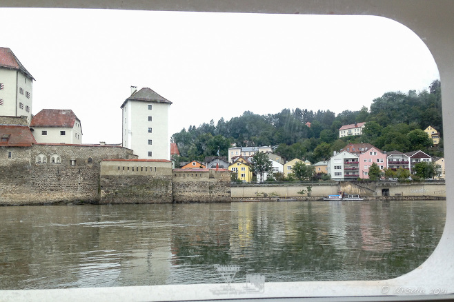 Old Passau from a canal boat portal on the Danube River, Germany