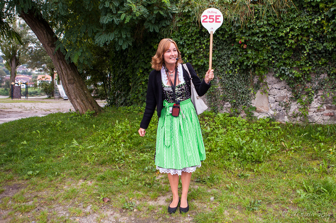 Female Bavarian Guide in a dirndl, Passau, Germany