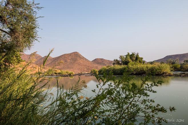 Landscape: Angola across the Kunene River, Namibia