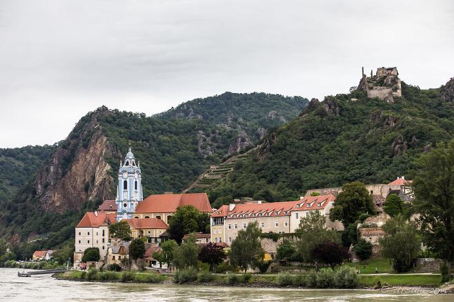 Landscape: Dürnstein Stiftskirche and Castle Ruins, Wachau Valley Austria