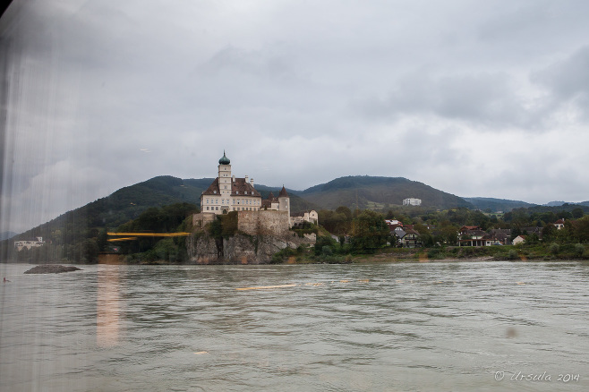 View of Castle Schoenbuehel, from a boat window, Wachau Valley, Austria