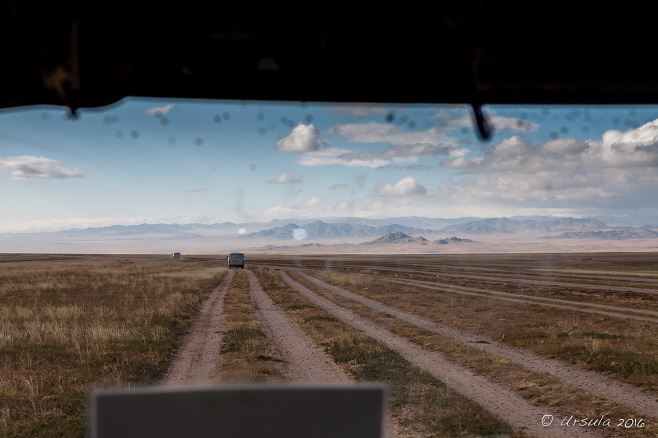 View from the Truck over the Dirt Roads West across Mongolia