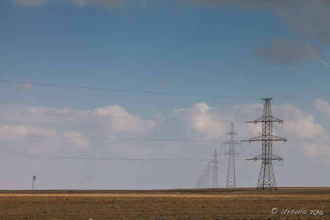 High tension power lines on the Mongolian steppes.