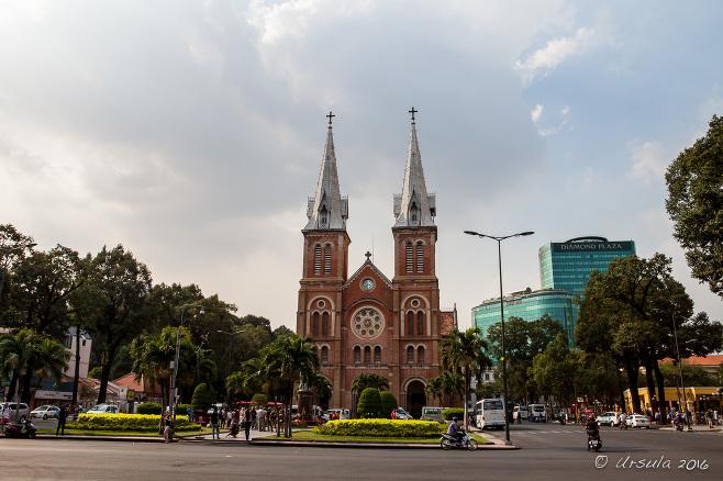 Notre Dame Cathedral Nhà Thờ Đức Bà from the road, Ho Chi Minh City Vietnam