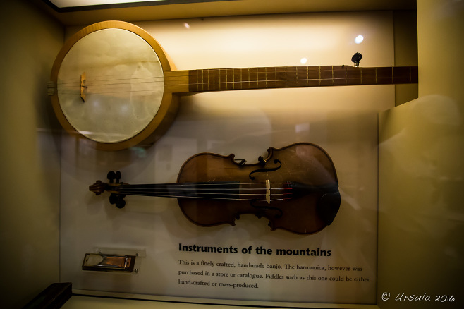 Blue Ridge Instruments in a case, Humpback Rocks Farm Visitor Center, Blue Ridge Parkway VA USA