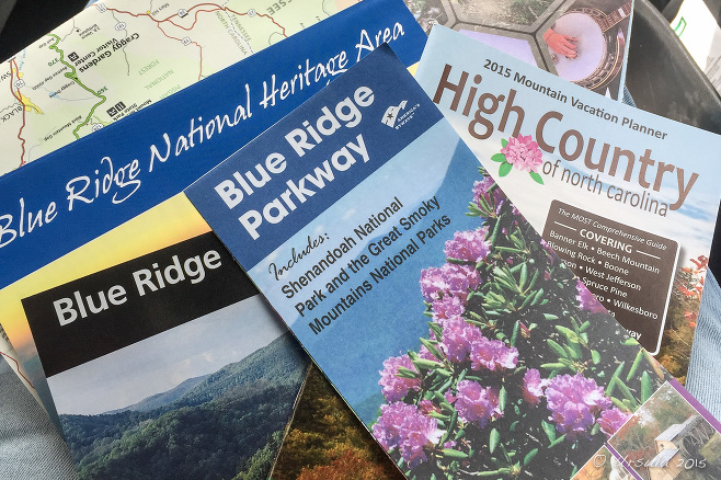 Blue Ridge Parkway pamphlets.