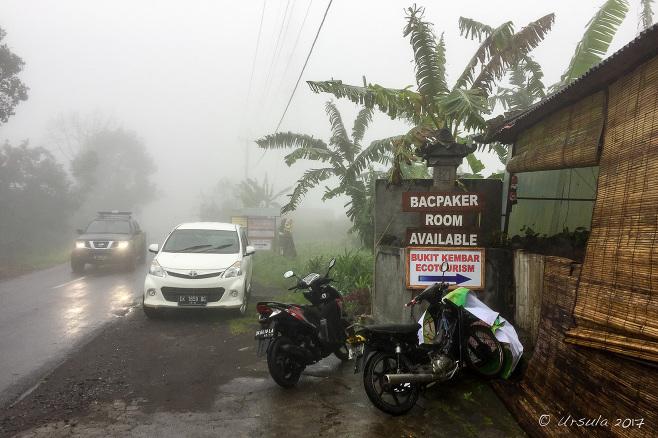 Bukit Kembar roadside in the rain, Bali
