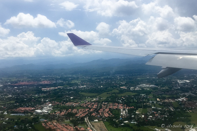 Aerial view of the red roofs over Chiang Mai Thailand