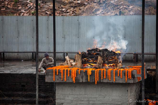 A burning ghat on the Bagmati River, Pashupatinath Nepal