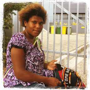 Papuan woman Making Bilum Bags, Port Moresby