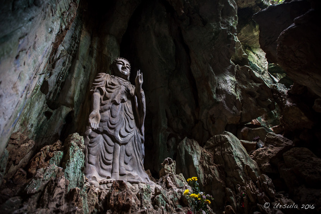 Standing Buddha in a niche, Marble Mountains, Danang, Vietnam