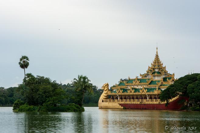 Karaweik Hall or Palace, on Kandawgyi Lake, Yangon Myanmar