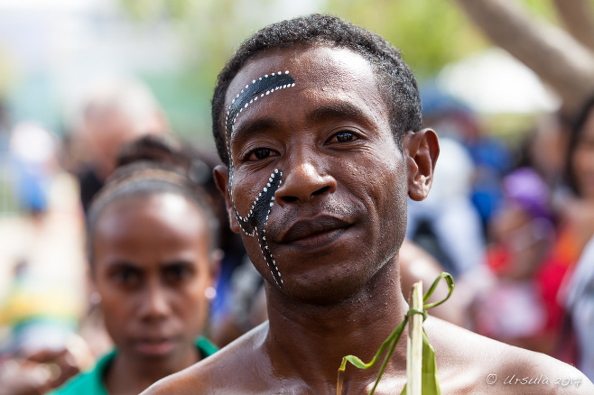 Portrait: male dancer in Milne Bay face paint, Port Moresby PNG