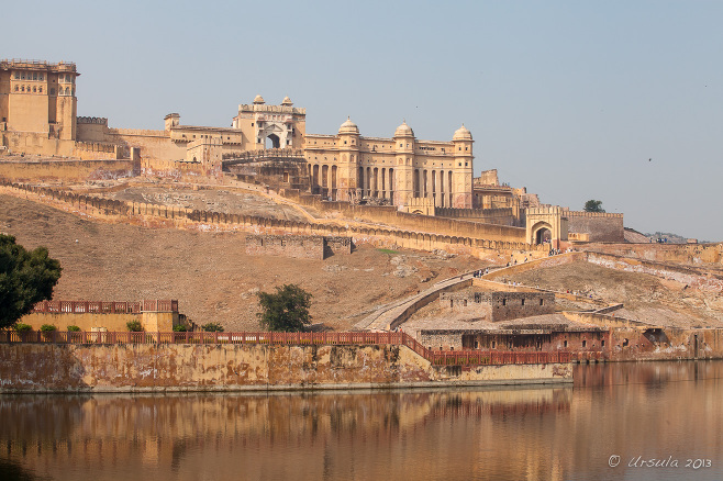 Amer Fort from across Maotha Lake, Jaipur India
